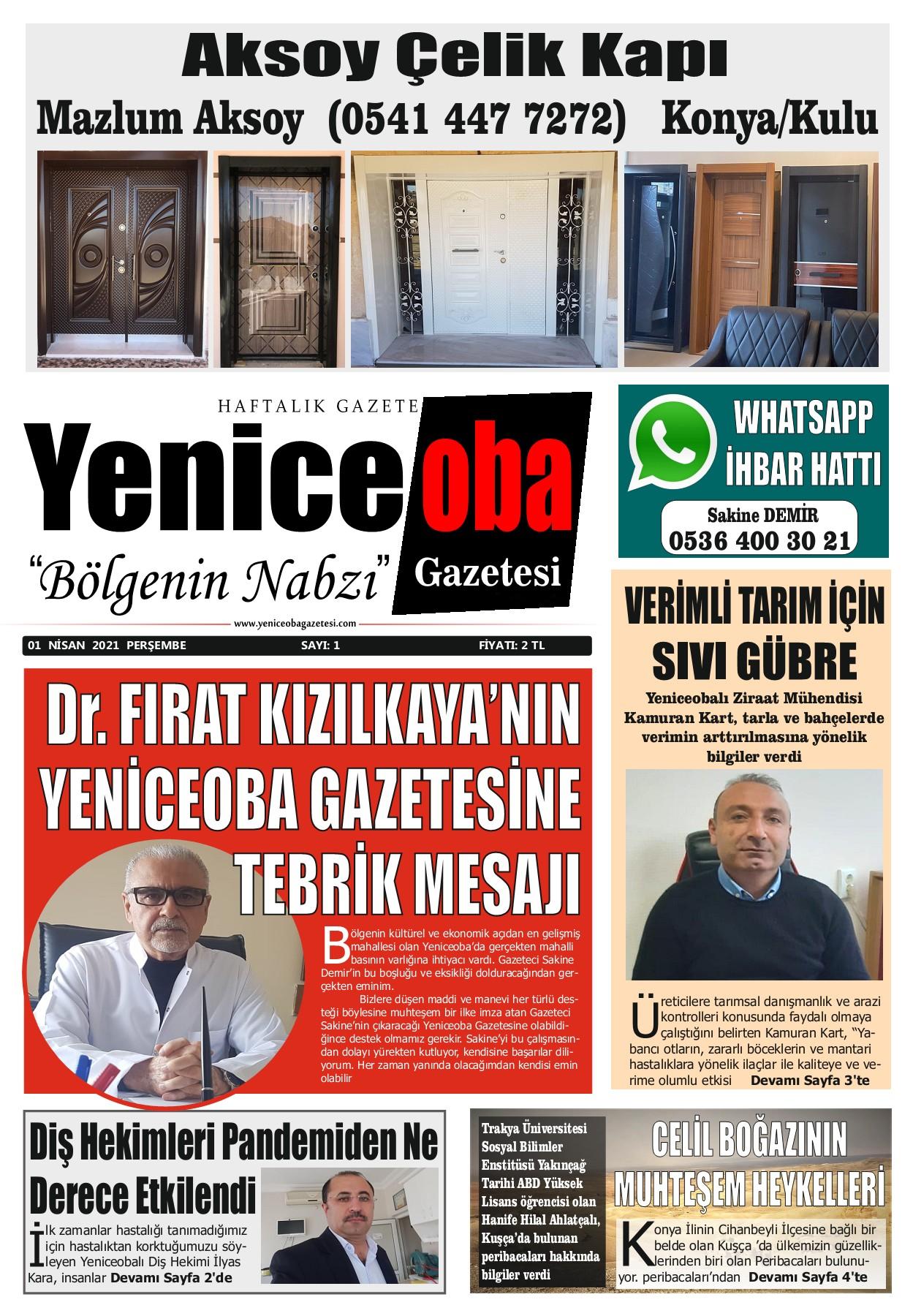 Yeniceoba Gazetesi - Bölgenin Nabzı - 1. Sayı