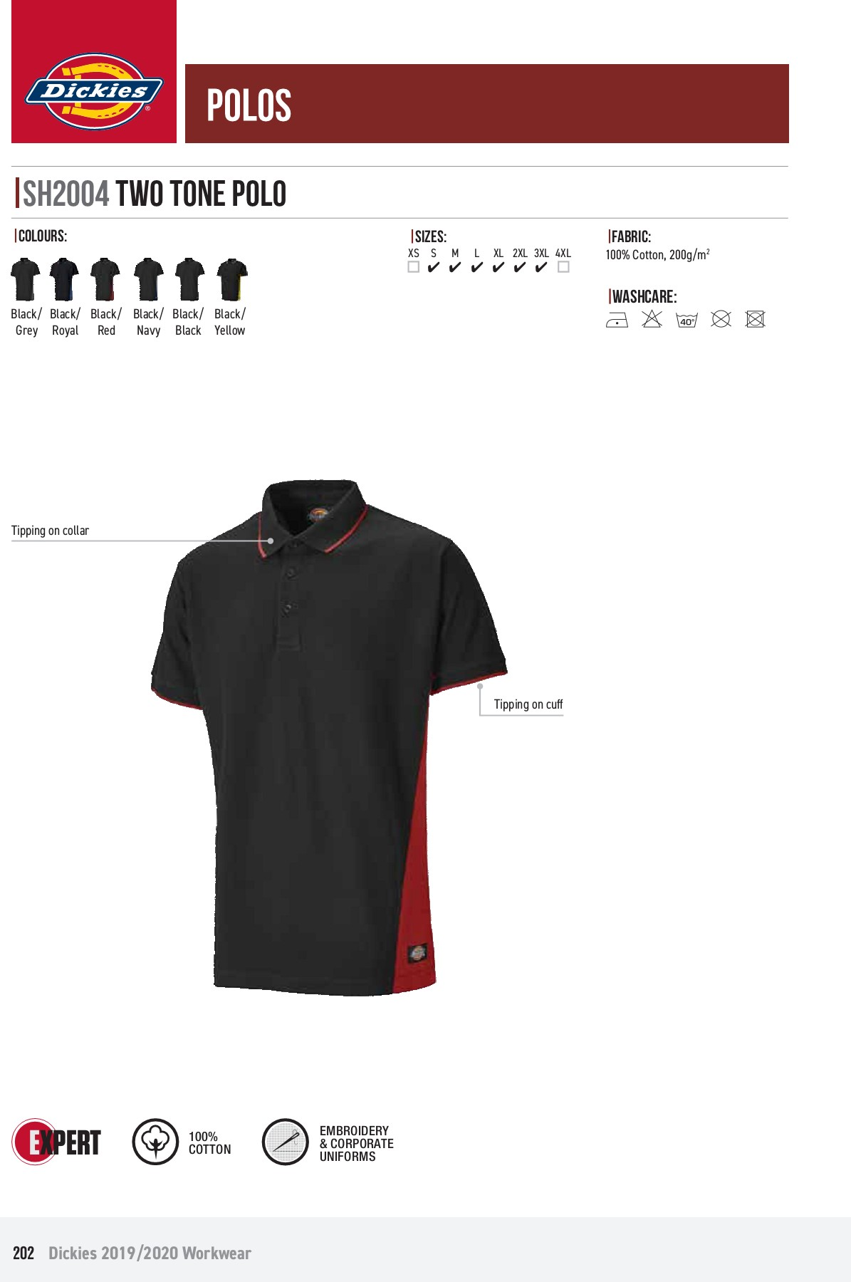Dickies Two Tone Polo Red//Black L