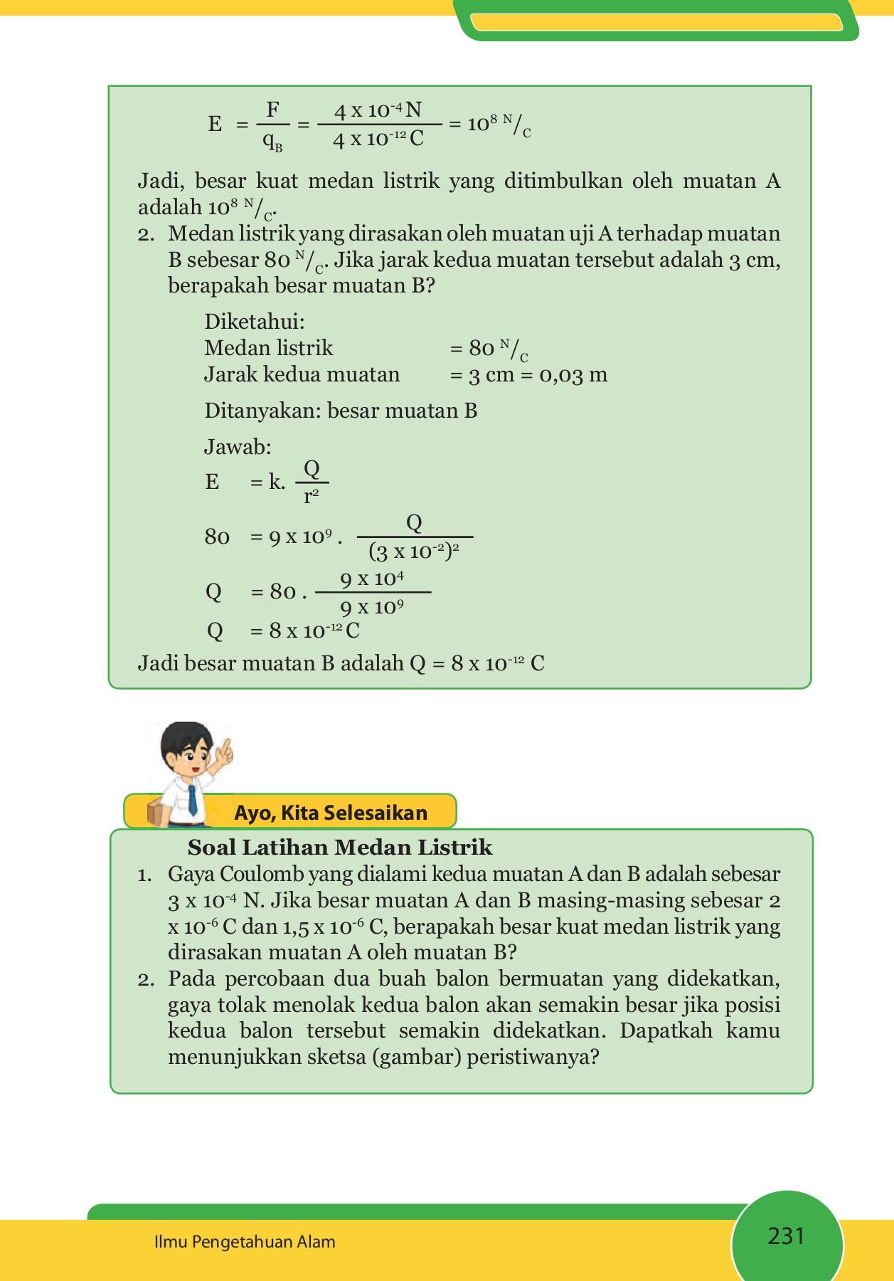 Kuat Medan Listrik Di Suatu Titik Dalam Medan Listrik X Adalah 105 N/C. Berapa Kuat Medan ...