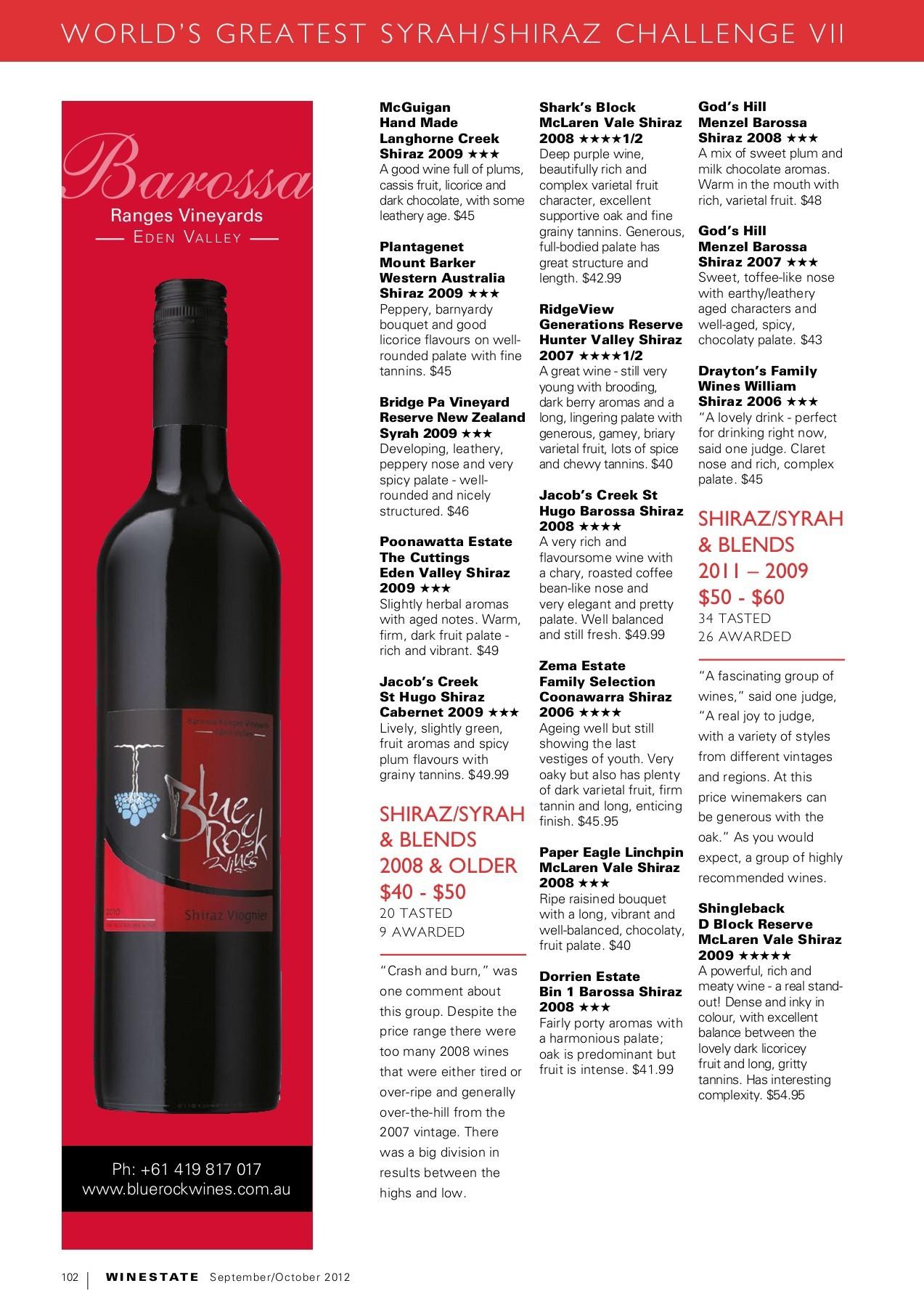 Winestate Magazine September October 2012 Flip Book Pages 101 150 Pubhtml5