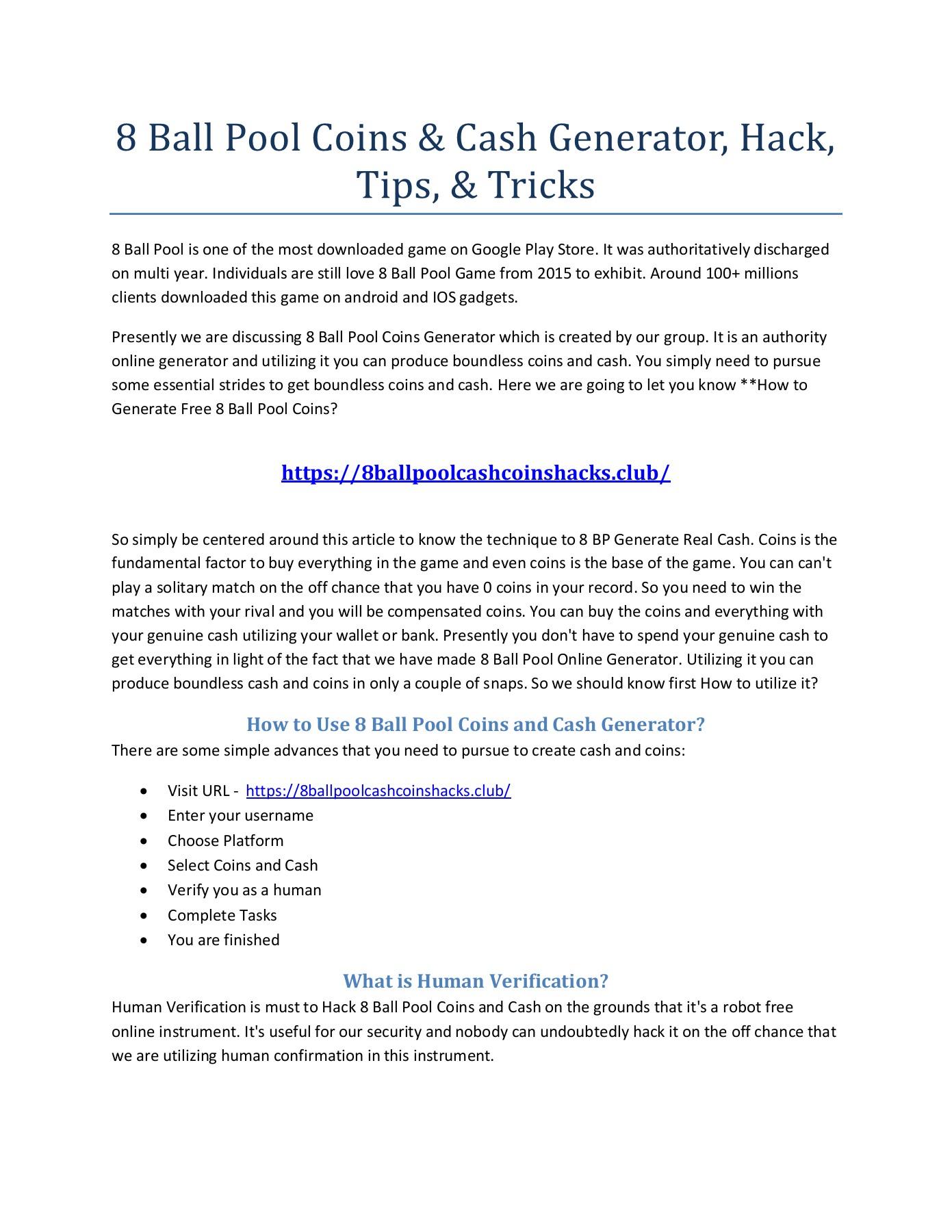 8 Ball Pool Coin Generator Online 8 ball pool coins & cash generator, hack, tips, & tricks