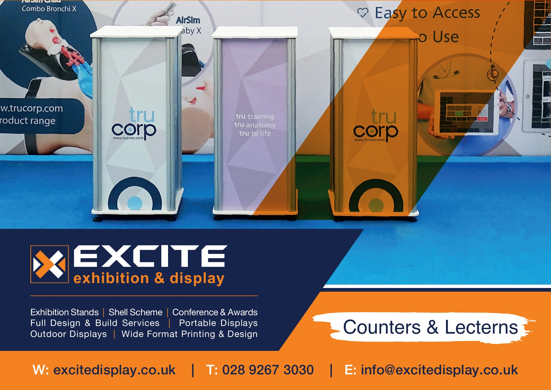 Exhibition Display Stand Full Colour Printed Graphic Pop up counter Plinth