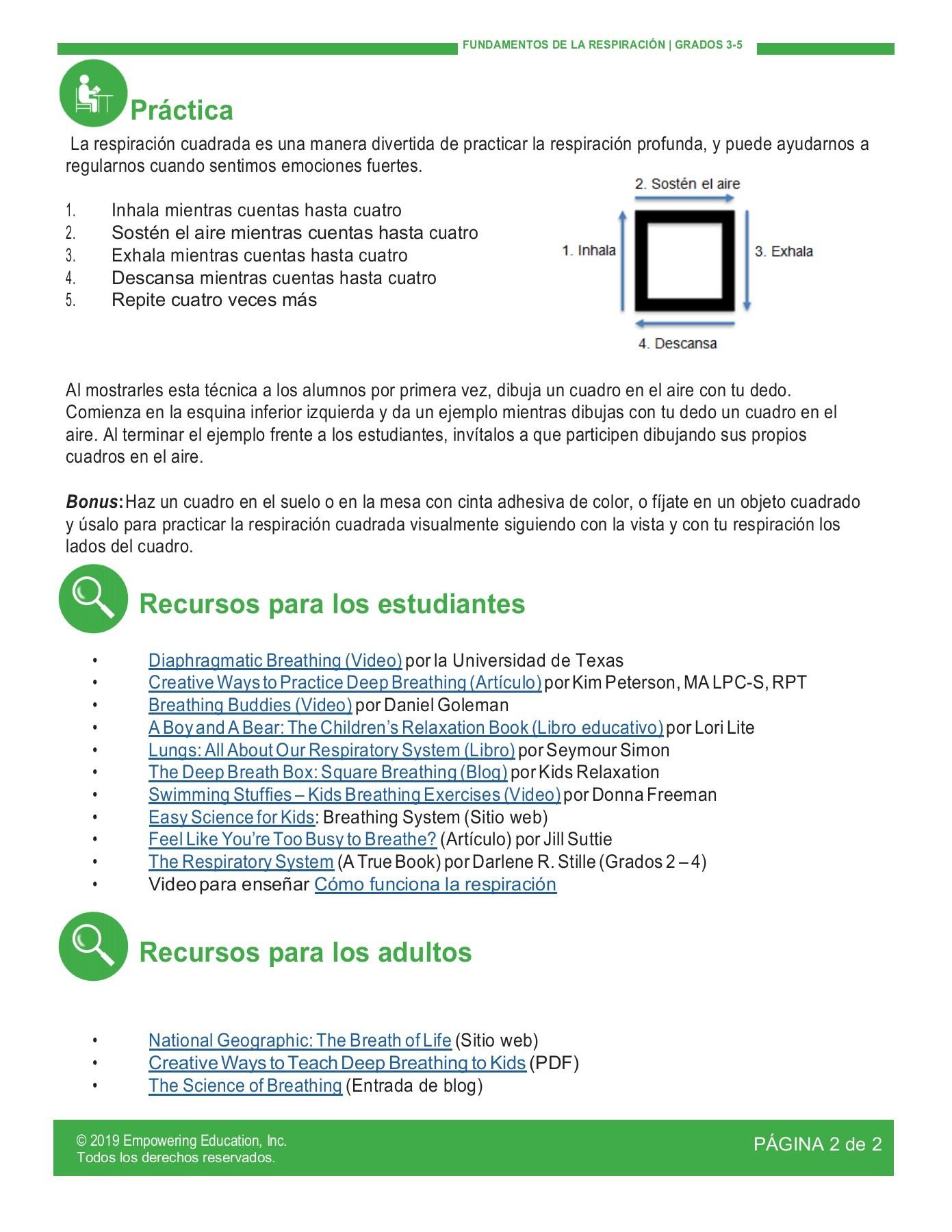 6_breathing basics 3-5 SPANISH-Empowering Education Flip PDF | PubHTML5