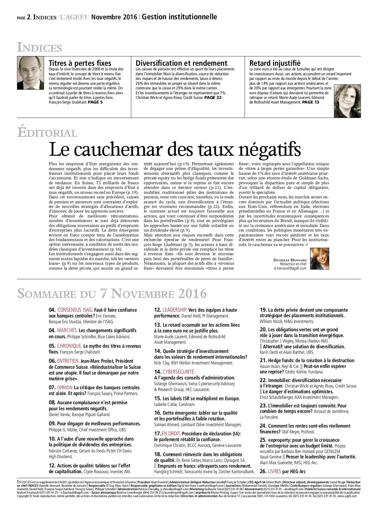 Guide Des Bonnes Manieres Rothschild n° 09 2016 indices - gestion institutionnelle pages 1 - 28