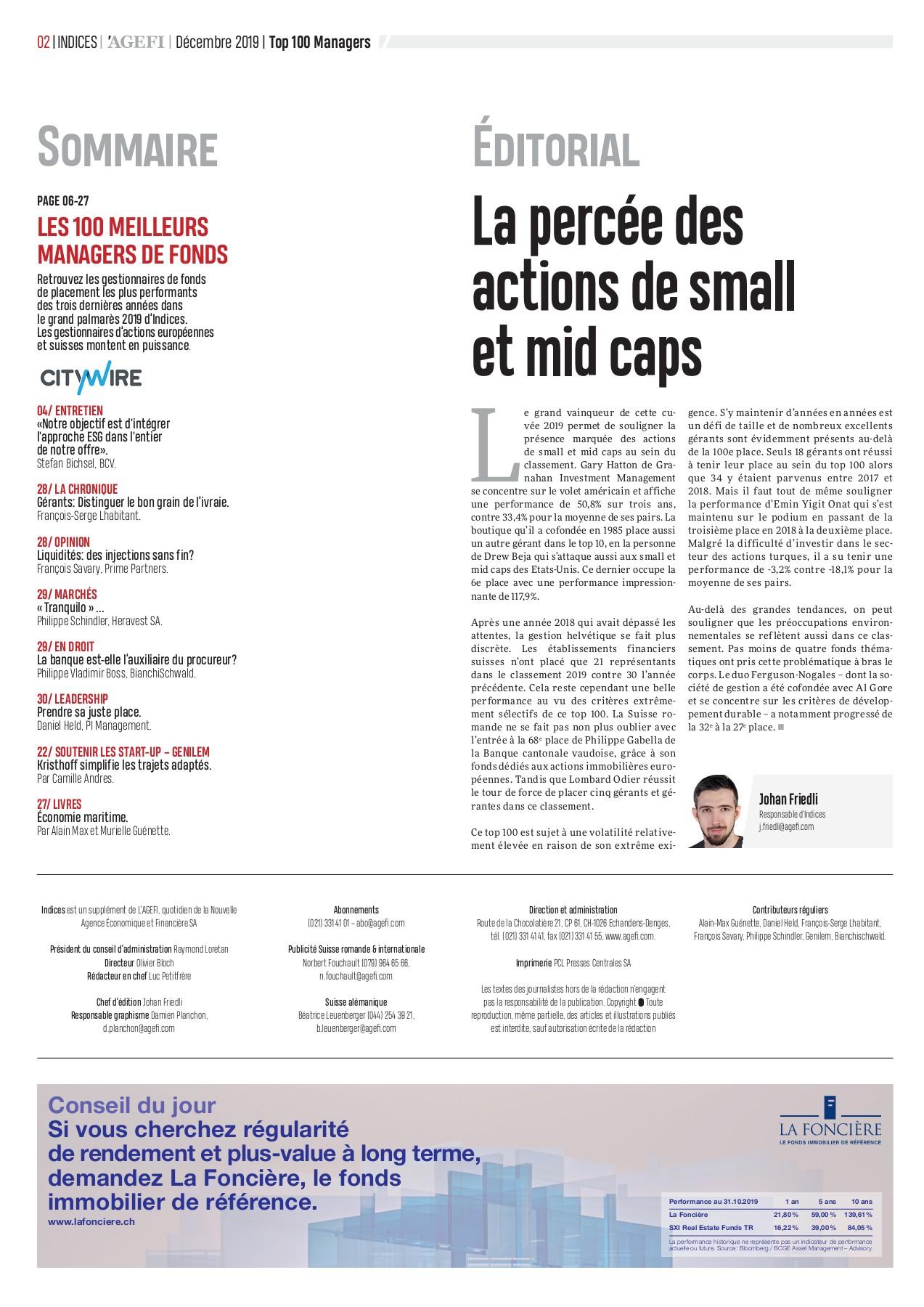 Bonus Porte Interne 2018 n°10 2019 agefi-indices - top 100 des managers de fonds-flip