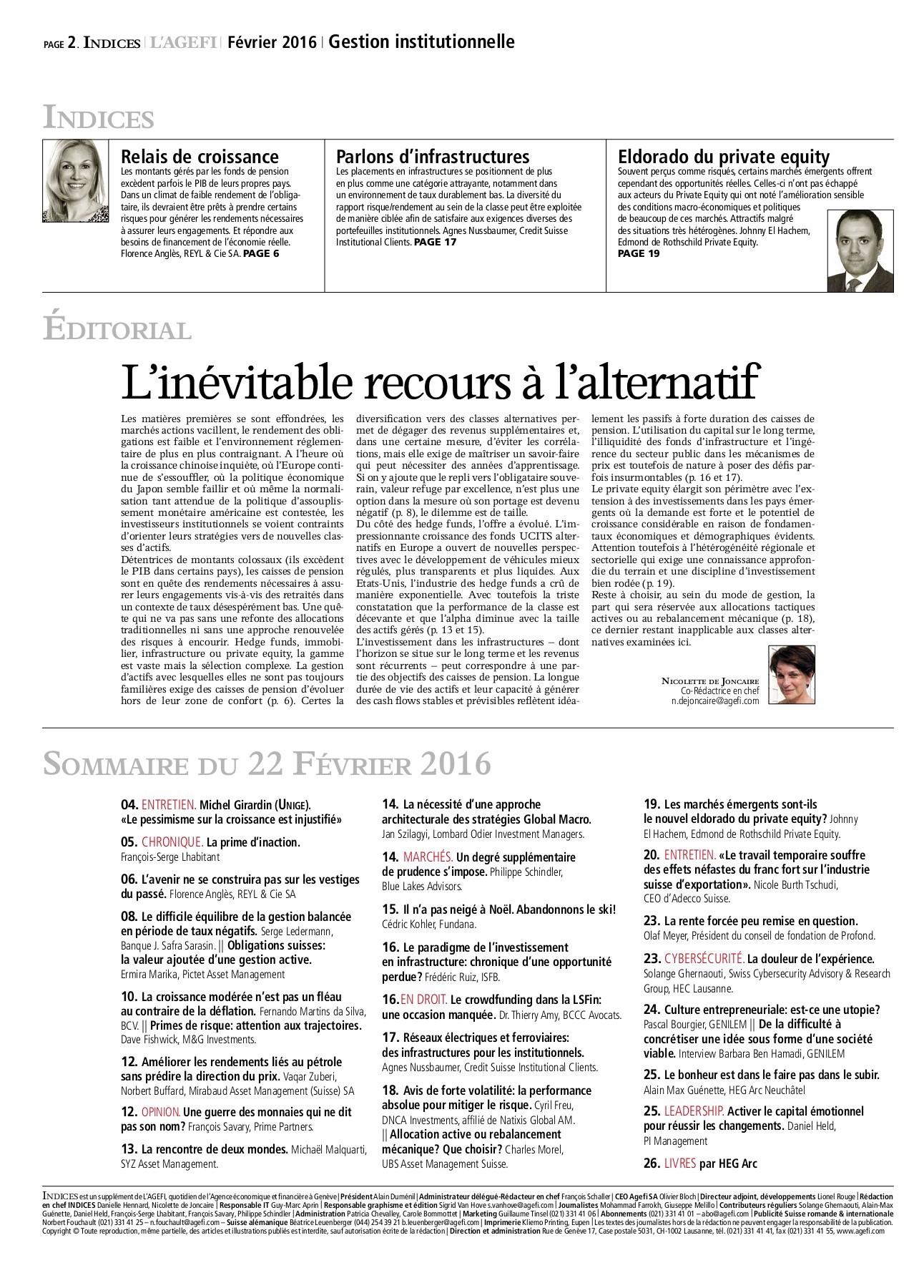 Guide Des Bonnes Manieres Rothschild n° 02 2016 indices - gestion institutionnelle pages 1 - 28