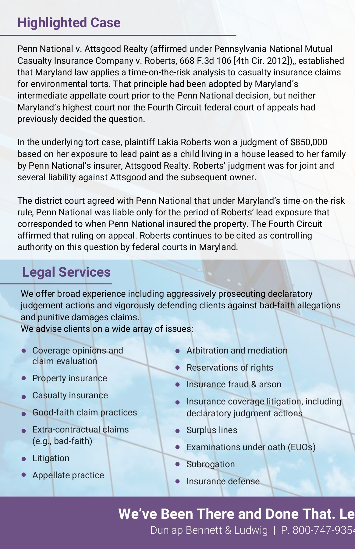 Insurance Litigation and Coverage - Dunlap, Bennett, and Ludwig