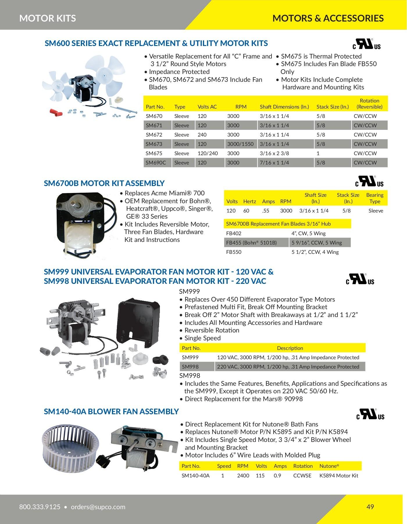 Supco AX34 Orginal Replacement Parts