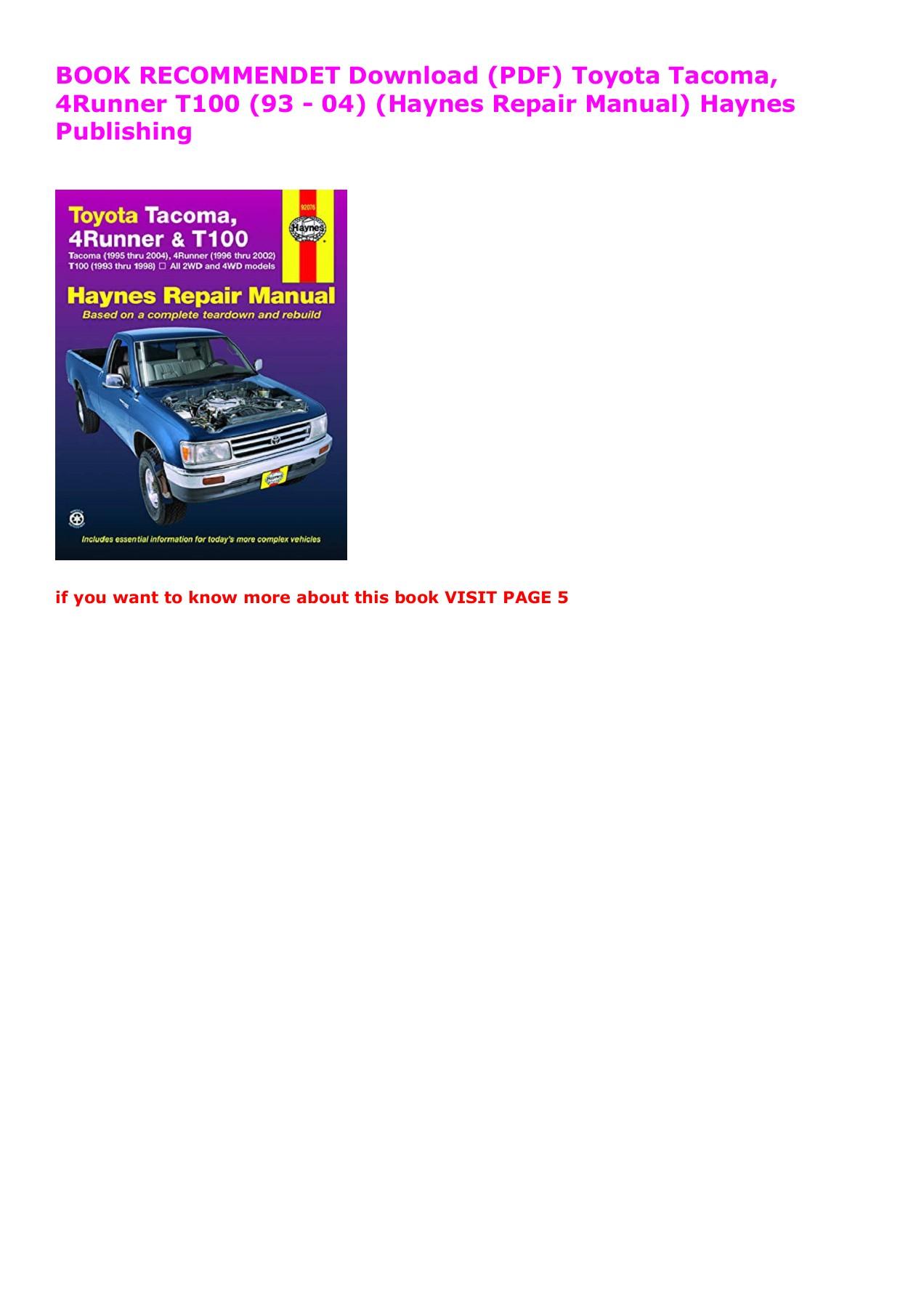 Haynes Repair Manual for 1993-1998 Toyota T100