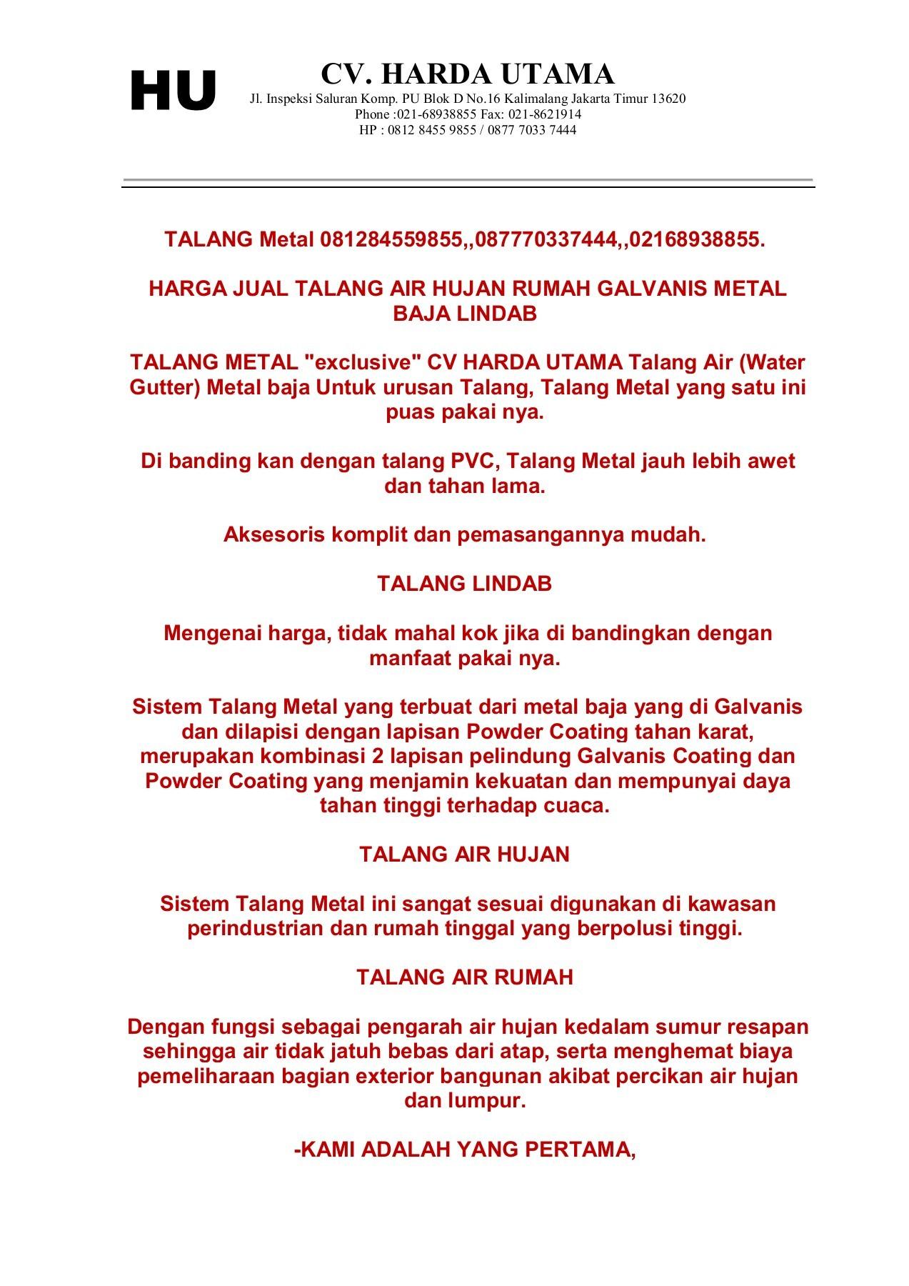 Daftar Harga Jual Talang Air Hujan Atap Rumah Galvanis Metal Pdf Solahartpromoduo Flip Pdf Pubhtml5