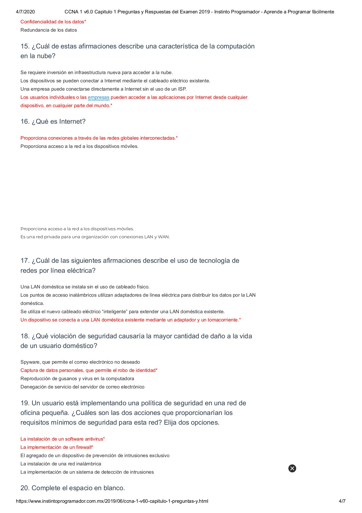 Ccna 1 V6 0 Capitulo 1 Preguntas Y Respuestas Del Examen 2019 Instinto Programador Aprende A Programar Facilmente Flip Book Pages 1 7 Pubhtml5