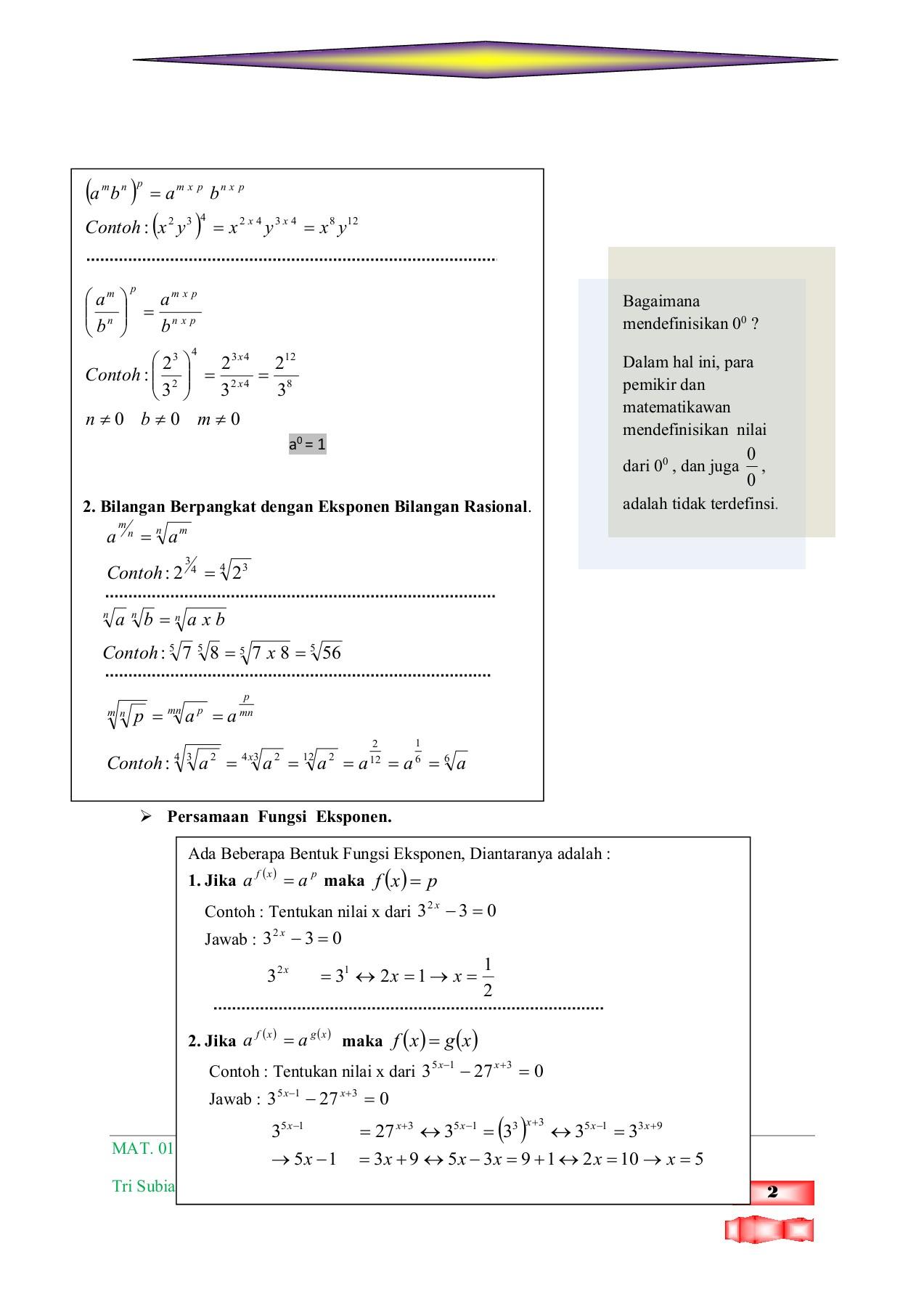 Modul Matematika Sma Ma Bentuk Pangkat Akar Dan Logaritma Flip Book Pages 1 14 Pubhtml5
