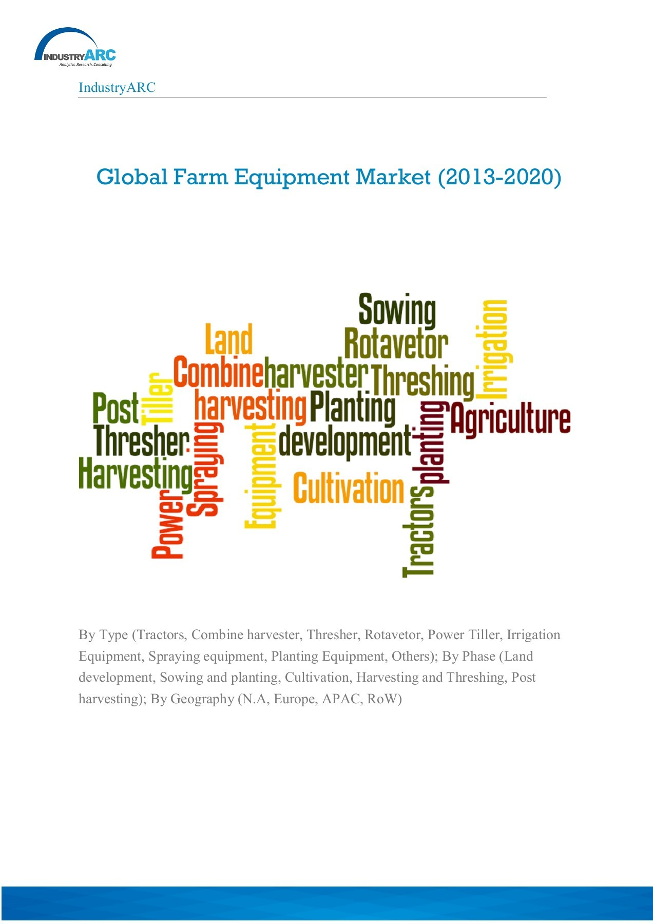 Global Farm Equipment Market (2014 – 2020): By Type (Tractors, Combine  harvester, Thresher, Rotavetor, Power Tiller, Irrigation Equipment,  Spraying equipment, Planting Equipment, Others); By Phase (Land  development, Sowing and planting, Cultivation ...