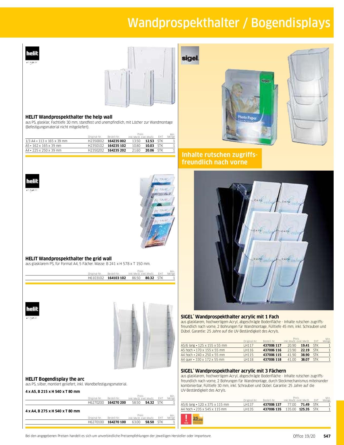 glasklar Acryl f/ür A5 SIGEL TA212 Tischaufsteller schr/äg weitere Gr/ö/ßen