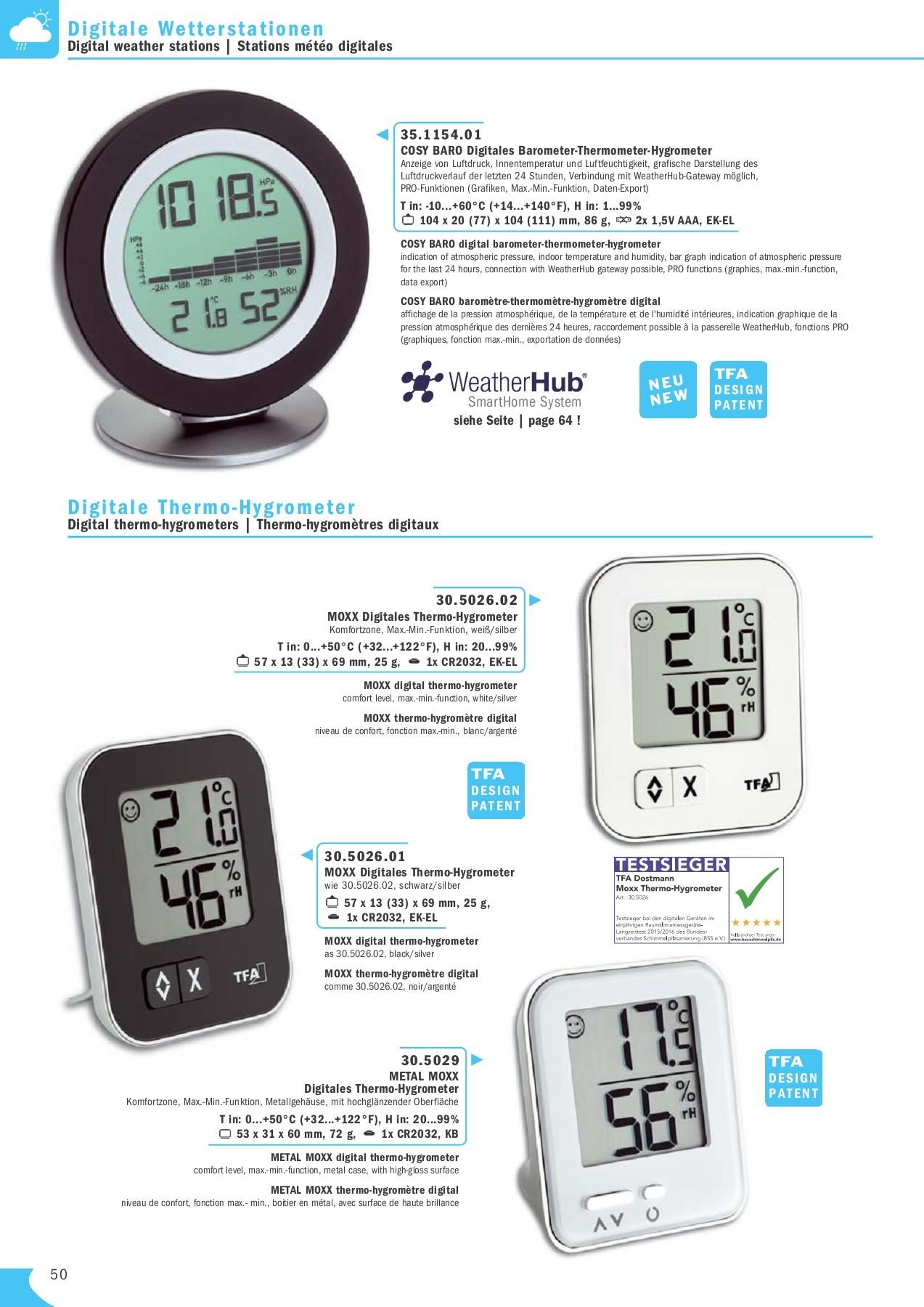 TFA Dostmann 30.5038 Thermom/ètre num/érique hygrom/ètre climat int/érieur de contr/ôle silber mit Batterie